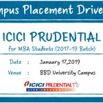 Campus Placement Drive of ICICI Prudential for MBA Students on 17th January 2019