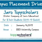 Campus Placement Drive of Jaro Toppscholars for B. Tech Students on 16th January 2019