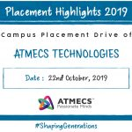 Placement Drive Of Atmecs Technologies On 27th Oct. 2019