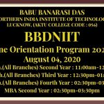 BBDNIIT Online Orientation Program for the Academic Session 2020-21