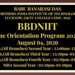 BBDNIIT Online Orientation Program for the Academic Session 2020-21