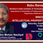 A National Level Webinar on Innovation & Intellectual Property Rights