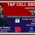 BBDNIIT: T&P webinar on Guru Mantra for Interview and Placement