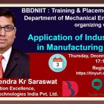 BBDNIIT: Webinar on Application of Industry 4.0 in Manufacturing Sector