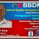 BBDNIIT: IQAC webinar on Pedagogical Techniques to Teach Coding