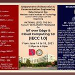 "BBDNIIT FDP: Five Days FDP on ""IoT over Edge & Cloud Computing 1.0 (IECC-1.0)"