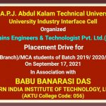 BBDNIIT: Smart Brains Engineers & Technologist Pvt. Ltd.( For HCL) Placement Drive by AKTU